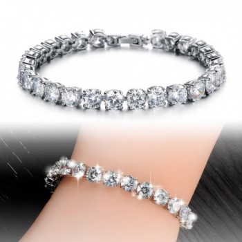 OPK Jewelry Platinum Bracelet Zirconia in Women's Tennis Bracelets