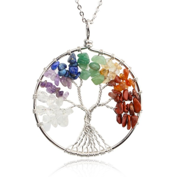 KISSPAT Tree Of Life Pendant Necklace Handmade Chakra Gemstone Jewelry- Great Gift For Her - A-7Chakra - CC187NW243L