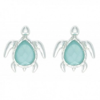 Trendy Jewels Aqua Marine Turtle Stud Earrings - CF17YII80QL