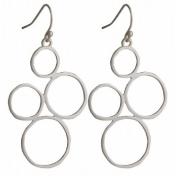 4 Circle Karma Dangle Earrings Gold or Silver Satin Finish | SPUNKYsoul Collection - CG12IOO2Q5R