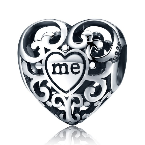 "Love Heart S925 Sterling Silver Openwork Bead Charm Protect ""Me in Your Heart Forever"" Charm Fit Bracelet - C9185XC3EKY"