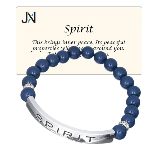 Spirit & Peace Glass Bead Inspirational Bead Stretch Bracelet by Jewelry Nexus - CL11O663Y4P