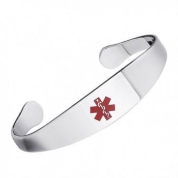 Free Engraving Shiny Medical alert id cuff bracelets for women - STEEL - CL185K539U8