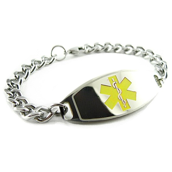 MyIDDr - Pre-Engraved & Customized Peanut Allergy Alert Medical Bracelet- Yellow - CK119IIO8DH
