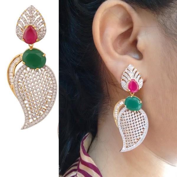 Swasti Jewels Women's American Diamond CZ Fashion Jewellery Traditional Ethnic Leaf Shaped Earrings - Red - CT12BT1XFA1