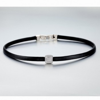 UMODE Leather Choker Zirconia Accented in Women's Choker Necklaces