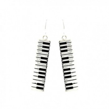 Silver Piano/Organ Keyboard Drop Earrings - C311U53DBPF