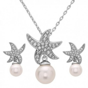 White Gold Plated Beach Wedding Starfish Cubic Zirconia Simulated Pearl Earring & Necklace Set - C712O0T63H3
