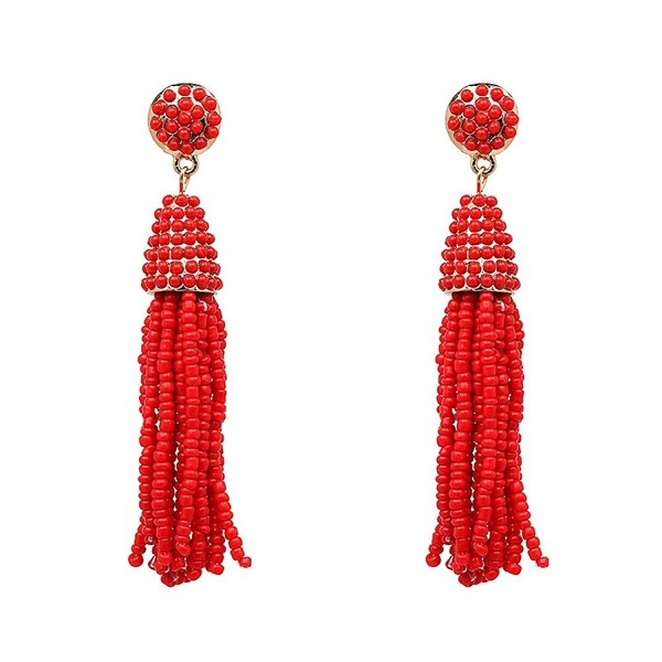 MELUOGE Chic Women's Beaded Tassel Earrings Long Fringe Drop Earrings Dangle 6 Colors - Red - CD184EGTE6C