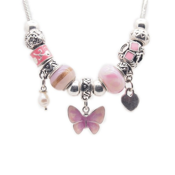 Women's Fashion Snake Stainless Steel Chain Alloy Glass Pink Beads Butterfly Pearl Jewelry Necklace - CG182ZAN3WH