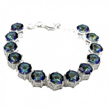 HERMOSA Christmas Gifts Mystic fire Topaz Silver Womens Bracelet 8 inches - CO12JE8B2Z7