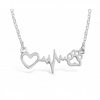 Rosa Vila Dog Paw Print With Heartbeat Necklace For Women - CE183WXTI5E