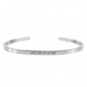 Pink Box 3mm Solid Stainless Steel Cuff Bracelet - One Day At A Time - CA183NH8NK5