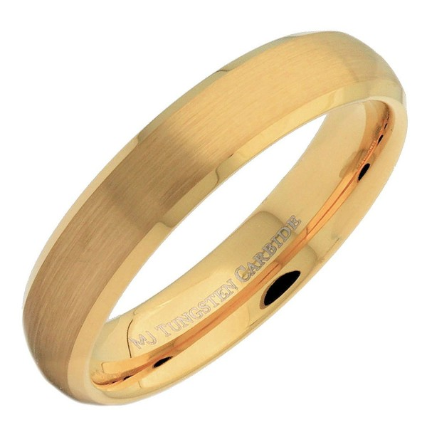 MJ 5mm Gold Plated Tungsten Carbide Brushed Curved With Polished Edges Wedding Band Ring - CK186HYTQ2H