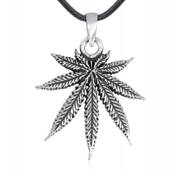 Dan's Jewelers Classic Marijuana Leaf Pendant Necklace- Fine Pewter Jewelry - CP1887OGIAZ