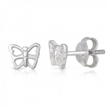 Sterling Silver Open Butterfly Dainty Rhodium Plated Small Stud Earrings Girls Teens Women - C8184AE8YOA