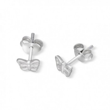 Sterling Silver Butterfly Rhodium Earrings in Women's Stud Earrings