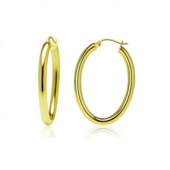 Sterling Silver 3mm Oval Hoop Earrings- Choose Size and Color - 25mm-Yellow - CX187LOCXUI