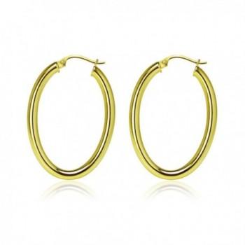 Yellow Flashed Sterling Silver Earrings in Women's Hoop Earrings