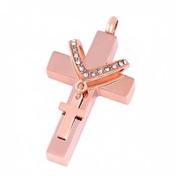 Double Cross Cremation Urn Neckalce Memorial Ashes Keepsake Pendant Funeral Locket with ENGRAVING - rose gold - CB17YQOOE0S