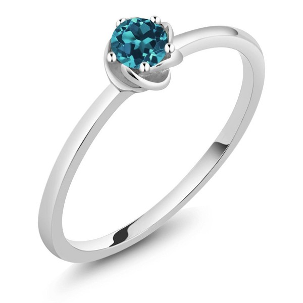 10K White Gold 0.20 Ct Round London Blue Topaz Solitaire Engagement Ring (Available in size 5- 6- 7- 8- 9) - CP12N75028Q