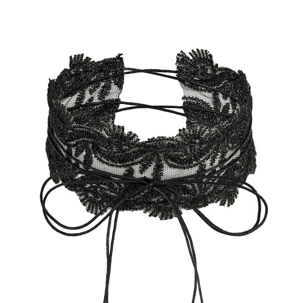 Lux Accessories Black Lace Long String Tie Bow Wrap Choker Necklace - CH17YHMND0Y