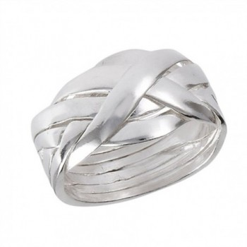 Six Piece Hard Puzzle Knot Weave Mesh Ring .925 Sterling Silver Band Sizes 6-12 - C0182M35ROA