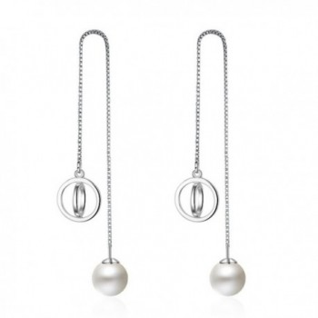 Women's Sterling Silver Long Tassel Pearl Dangle Threader Drop Earings with CZ - C9182OSLK08