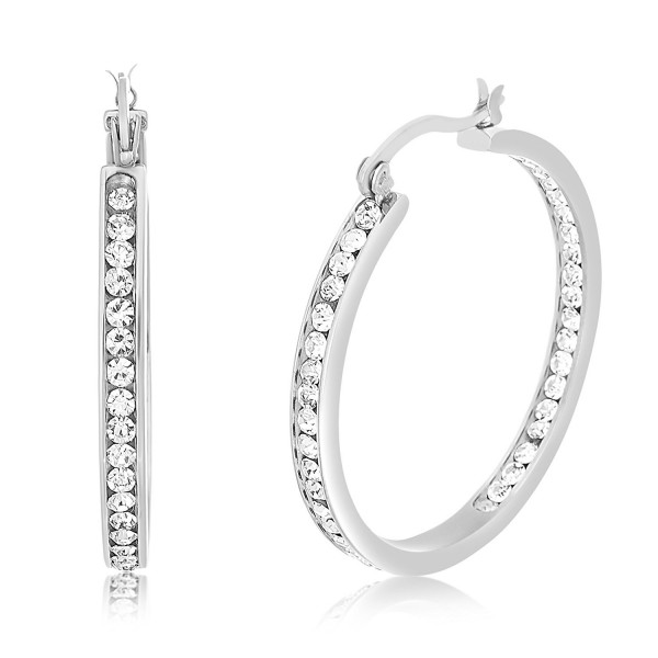 Lesa Michele Crystal Inside Outside Hoop Earring in Stainless Steel - CQ187AR40HX