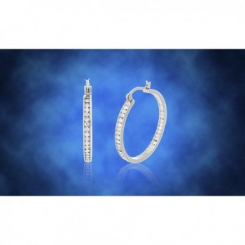 Lesa Michele Crystal Outside Stainless in Women's Hoop Earrings