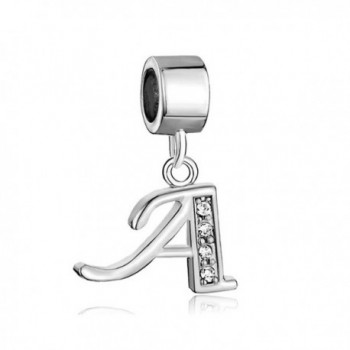Pugster Silver Plated Letter Initial A-Z Dangle Alphabet Synthetic Crystal Bead Fits Charms Bracelet - C011TVMY0Y7