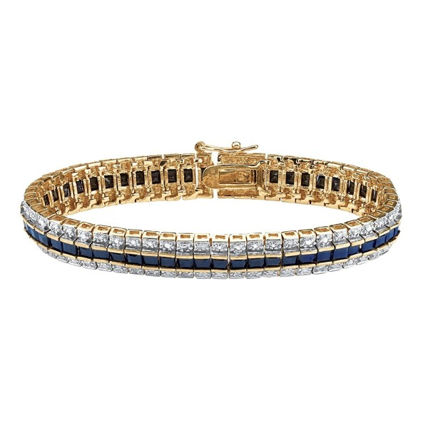 "Princess-Cut Genuine Midnight Blue Sapphire Diamond Accent 18k Gold-Plated Tennis Bracelet 7"" - CZ11VAP9JUR"