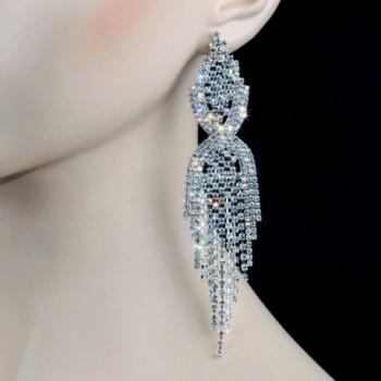 CHRAN Rhinestone Tassels Chandelier Earrings