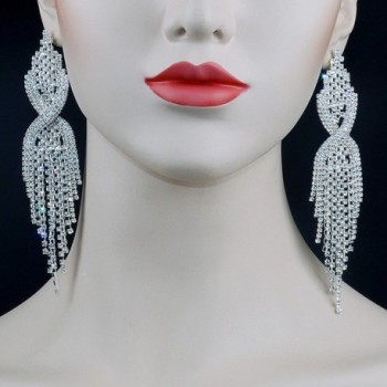 CHRAN Rhinestone Tassels Chandelier Earrings in Women's Drop & Dangle Earrings
