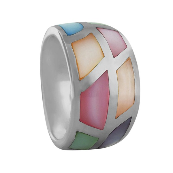 Sterling Silver Multi Color Mother of Pearl Tapered Band Ring - CF12FAO8LQB
