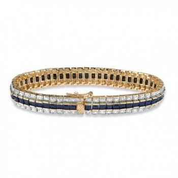 Princess Cut Midnight Sapphire Gold Plated Bracelet