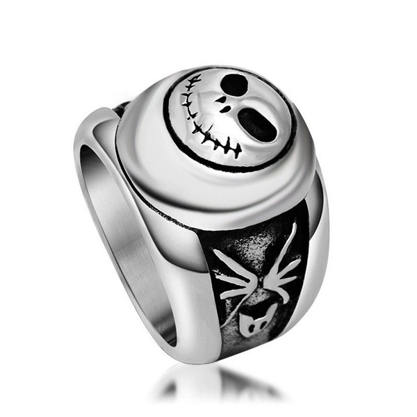 Stainless Steel Ring Band Silver Black Pumpkin Face Rings - titanium-and-stainless-steel - C612N11I696