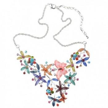 Elegant Colorful Butterfly Necklace Earrings in Women's Pendants