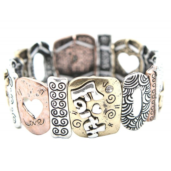 Faith Hope Love Corinthians Multi Texturee Stretch Bracelet - Burnished Mix Plating - C4127TIR7UD