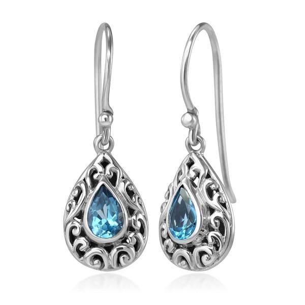 """925 Sterling Silver Filigree Bali Inspired Blue Topaz Gemstone Teardrop Dangle Hook Earrings 1.1"""" - CW1234Z8DQR"""