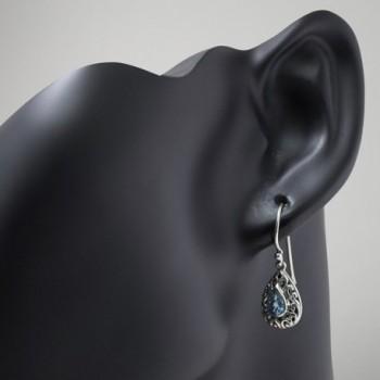 Sterling Filigree Inspired Gemstone Teardrop in Women's Drop & Dangle Earrings