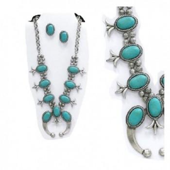 Turquoise Silver Southwest Squash Blossom Necklace set - CQ182AE3RAE