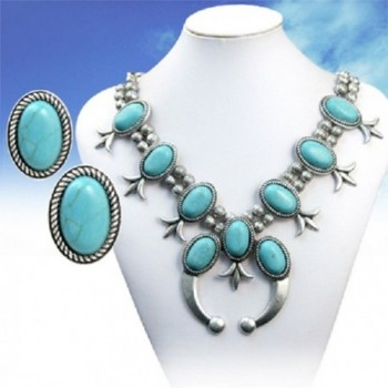Turquoise Silver Southwest Blossom Necklace
