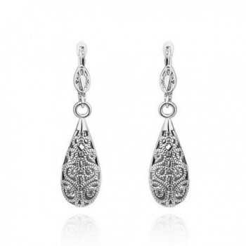 Corykeyes Vintage Filigree Heart Teardrop Dangle Drop Lever-back Earrings - CI182Q2G9UW