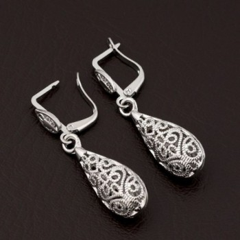 Corykeyes Filigree Teardrop Lever back Earrings in Women's Drop & Dangle Earrings