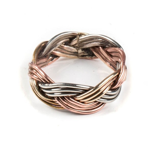 TSKIES Authentic Navajo Twisted Brass Copper Nickel Rope Wire Ring Handmade Native American Jewelry - CW182WKU4R2