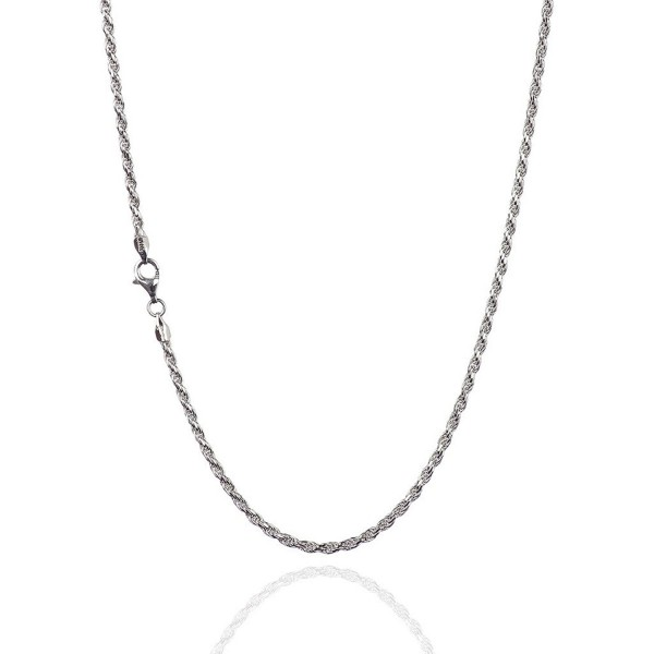 925 Sterling Silver 2.30 mm Diamond-Cut Rope Chain Necklace With Pear Shape Clasp-RHODIUM FINISH - CV12NA2HBZH