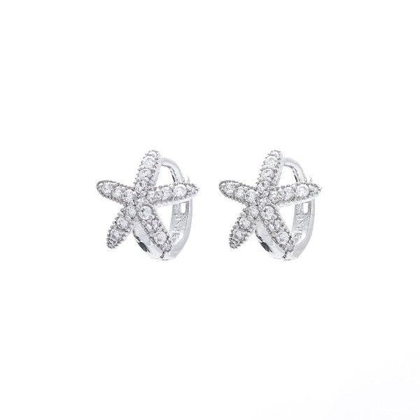 Sterling Silver Petite CZ Starfish Huggie Earrings - C211KXV6A0B
