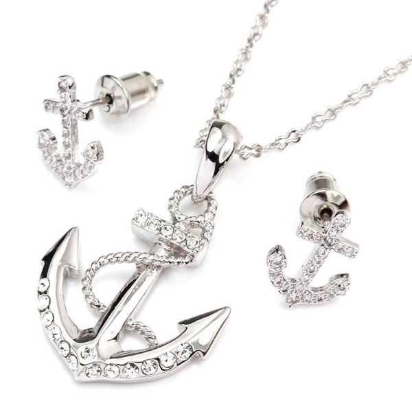 FC JORY White & Rose Gold Plated Anchor Necklace Earring Studs Jewelry Set - Rose gold - CW11M4VQD3N
