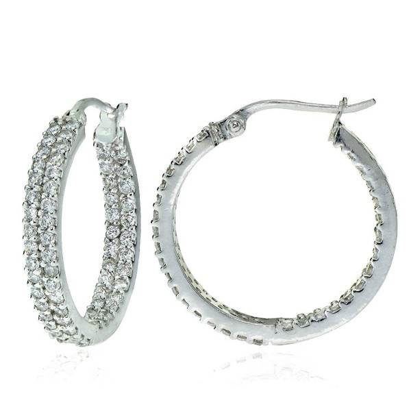 Sterling Silver Cubic Zirconia 3x20mm Two Row Inside-Out Hoop Earrings - Sterling Silver - C412MN2QGXT